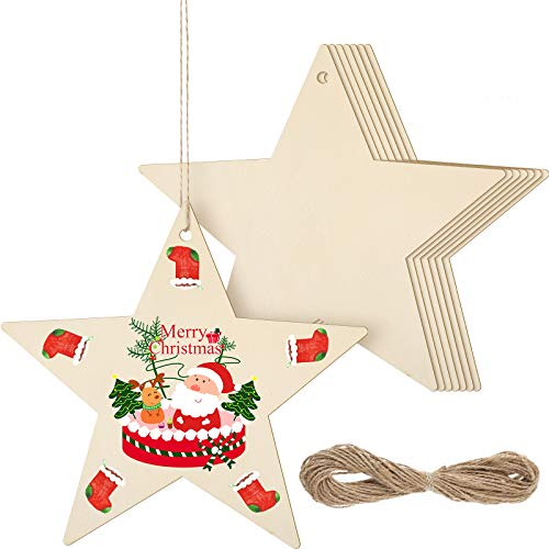 8 Pieces Christmas Large Wooden Star Shape Cutouts 11 Inch Hanging Ornaments Unfinished Wooden Slices Blank Christmas Wooden Chips with 32.8 ft Twine for DIY Christmas Hanging Embellishments