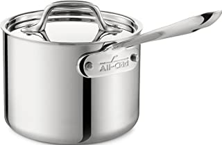 All-Clad 42025 Stainless Steel 3-Ply Bonded Dishwasher Safe Sauce Pan with Porcelain Double Boiler and Cookware Lid 2-Quart Silver Groupe SEB 8400000266