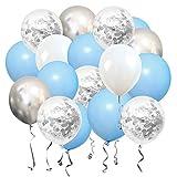 SKYIOL Geburtstag Luftballons Pastell Blau Weiß Silber Helium Konfetti Metallic Latex Ballons für Kinder Junge Hochzeit Baby Shower Abschluss Jubilläum Party Dekorationen, 50 Stück 30 cm