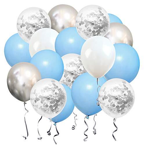 Palloncini Compleanno Blu Bianchi Argento Pastello 50 Pezzi 30cm Elio Palloncino Coriandoli Metallizzato Lattice Palloncini per Bambino Battesimo Matrimonio Baby Shower Decorazioni per Feste