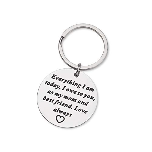 Mom Birthday Gifts for Mother of Bride Wedding Day Keychain from Daughter Appreciation Christmas Gift for Parents from Kids Everything I am Today, I Owe to You, As My Mom and Best Friend, Love Always