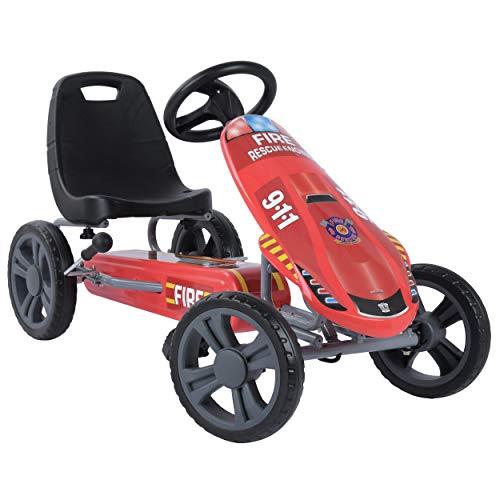 Hauck Toys for Kids GoKart Speedster - Pedal Go-Cart mit Handbremse und verstellbarem Sitz für Kinder ab 4 Jahre - Fireworkers Rot
