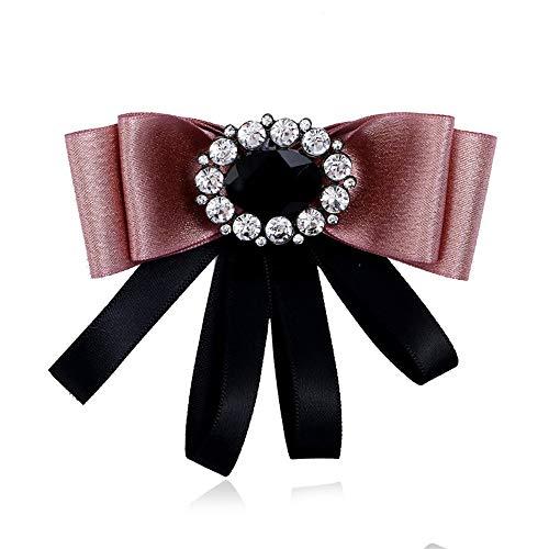 Broche Pin Joyería de las mujeres, Las mujeres del Rhinestone cristalino Pre atado en capas del Bowknot del arco broche collar ramillete Traje camisa de la joyería del partido vestido de novia de la c