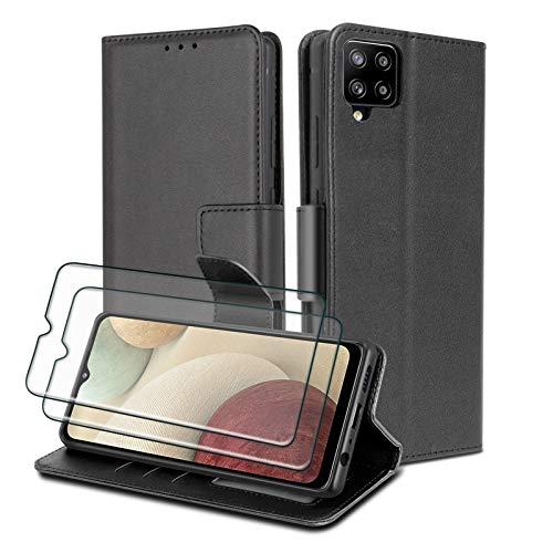 WuGlrz Handyhülle für Samsung Galaxy A12 mit 2 Stück Panzerglas Schutzfolie, Luxus PU Leder Brieftasche Hülle mit Clip Lanyard Magnetisch Flip Schutzhülle -Schwarz