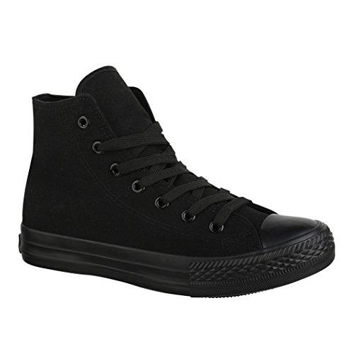 Elara Unisex Sneaker Sportschuhe für Herren Damen High Top Turnschuh Textil Chunkyrayan ZY9031-12-Allblack-38