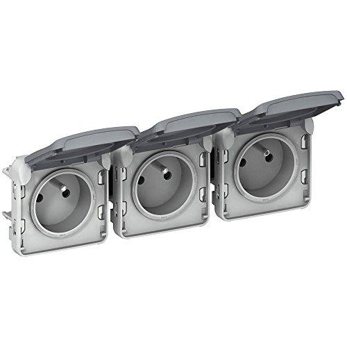 LEGRAND - Prises 3x2P+T horizontal précâblées composable gris 16 A 250 V LEGRAND PLEXO 069564 - LEG-069564