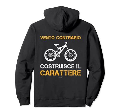 Vento Contrario Scritte Divertenti Regalo Uomo Ciclista Felpa con Cappuccio