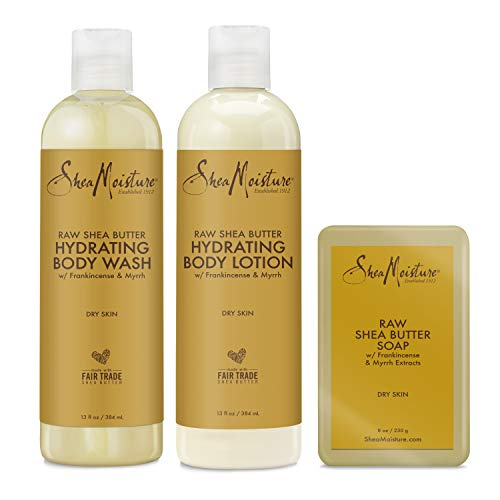 SHEA MOISTURE Hydrating Bath and Body Kit Skin Care Products for Dry Skin Raw Shea Butter Hydrating Pack of 3