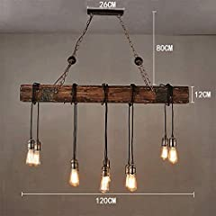 N/Z Daily Equipment Lighting Pendant Light Ceilings Chandelier American style Loft Retro Industrial Wind Chandelier Nostalgic Restaurant Bar Solid Wood Lamp Head Chandelier #4