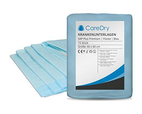 CareDry Krankenunterlagen 60x60 cm SAP Plus PREMIUM | 150 Stück | Einmalunterlagen | Inkontinenzunterlagen | Patientenunterlagen | Wickelunterlagen | Tierunterlagen | Ideal bei Inkontinenz