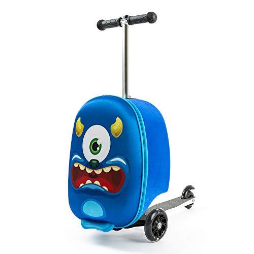 Kiddietotes Maleta ligera 3-D rígida para scooter con ruedas LED iluminadas