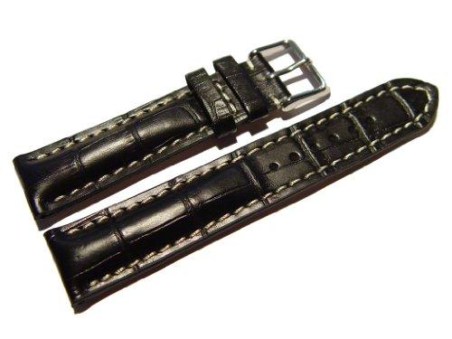 Orig. Watchband Berlin - Uhrenarmband - stark gepolstert - Kroko Prägung - schwarz - 22mm