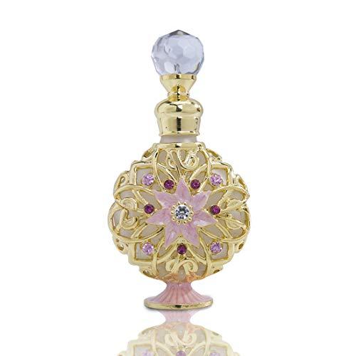 YU FENG - Botellas de perfume de cristal antiguo con cuerpo plano rellenable, botella de cristal vintage