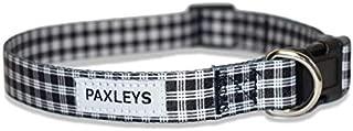 Paxleys Polyester Black White Soft Comfortable Plaid Scottish Tartan Dog Puppy Collar, Adjustable Designer Waterproof Durable Accessory All Dogs