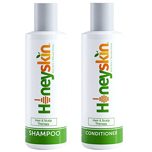 Hair Growth Shampoo and Conditioner Set - with Manuka Honey, Aloe Vera and Coconut Oil - for Frizzy, Itchy and Dry Scalp - Hair Loss and Thinning Treatment - Paraben and Sulfate Free (4oz)