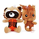 EASTVAPS 2pcs Guardians of The Galaxy Baby Groot Tree Gruitt Rocket Raccoon Figure Peluche