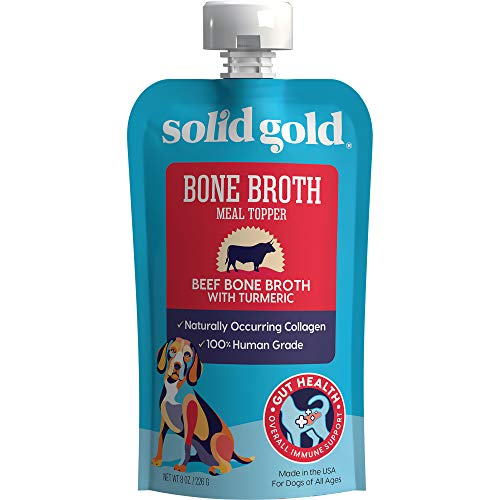 Solid Gold - Beef Bone Broth - Human Grade Beef Bone Broth with Turmeric - Natural Collagen - Holistic - Grain-Free - Meal topper, 12 Count