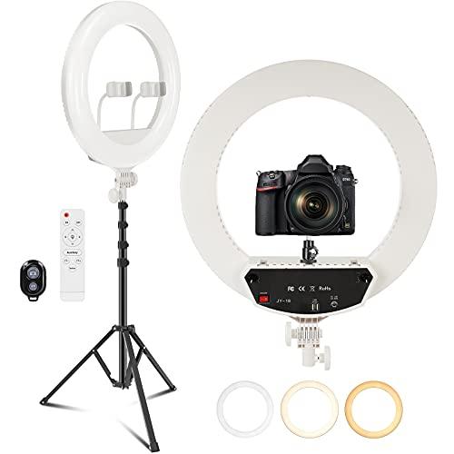 """PEHESHE de 18""""/48 cm 2700K-6500K,CRI 95, Anillo de luz con Soporte y Soporte para teléfono,Anillo de luz LED Regulable,Anillo de luz Selfie para transmisión en Vivo/Maquillaje/Youtube(Blanco)"""