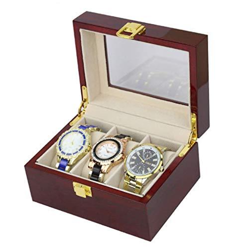 Yxx max Horloge Box 3 Grids, Multifunctionele Draagbare High-end Mode Piano Gelakt Houten Verpakking Box Counter Display Opbergdoos voor mannen en vrouwen Box