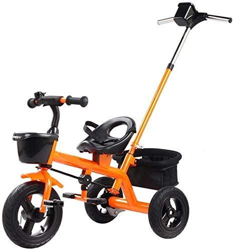 DYB Triciclo para niños, Bicicleta, multifunción, Ligero, Cochecito para niños, Triciclo para niños, cinturón de Seguridad con portavasos, Aumento de la Cesta de Almacenamiento (Color: Amarillo)