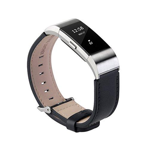 Fitbit Charge de 2 bandas, bandas de cuero UKCOCO para accesorios Fitbit 2 correas de remplazo para relojes inteligentes (negro), color negro
