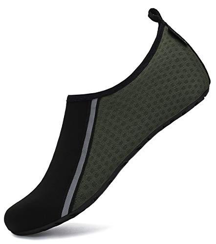 SAGUARO Escarpines Hombre Mujer para Buceo Snorkel Surf Natación Piscina Vela Mares Rocas Río Zapatos para Agua Calzado Playa Zapatillas Deportes Acuáticos (031 Oliva,46/47 EU)