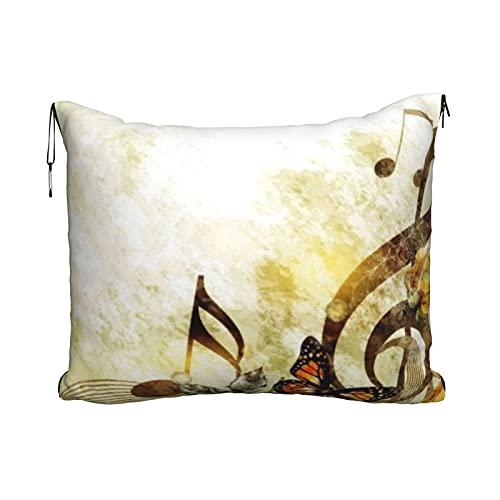 Manta de viaje y almohada, juego de almohada y manta de viaje, manta de viaje compacta, suave, 2 en 1, notas musicales de mariposa