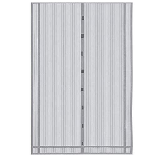 Sekey 230x160cm Magnetvorhang zum Insektenschutz, idealer magnetischer Fliegengitter für Balkontür, Kellertür, Terrassentür (zuschneidbar in Höhe und Breite) durch kinderleichte Klebemontage, Grau
