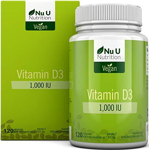 Vitamin D3 Vegan 1.000 IE | 120 Vegan Vitamin D Softgelkapseln - Vorrat für 4 Monate | Vitamin...
