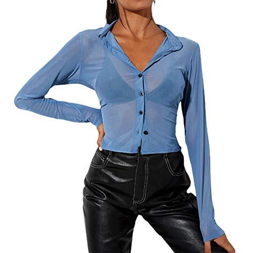 Madger Mujeres Y2K Cardigan Sexy Ver a través de malla camiseta con cuello de botón abajo Crop Top manga larga blusa camisa niñas Streetwear