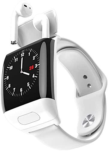 Reloj deportivo inteligente de 1,3 pulgadas 2 en 1 pulsera inteligente inalámbrica invisible Bluetooth auricular pulsera fitness con tiempo real blanco