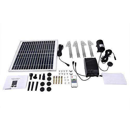 eecoo Solar Teichpumpe Kit - 15W Doppelpumpen Energiespeicher Ferngesteuerter Teich Solar Springbrunnen Wasserpumpen Kit für Garten Hinterhof Teichpool im Freien