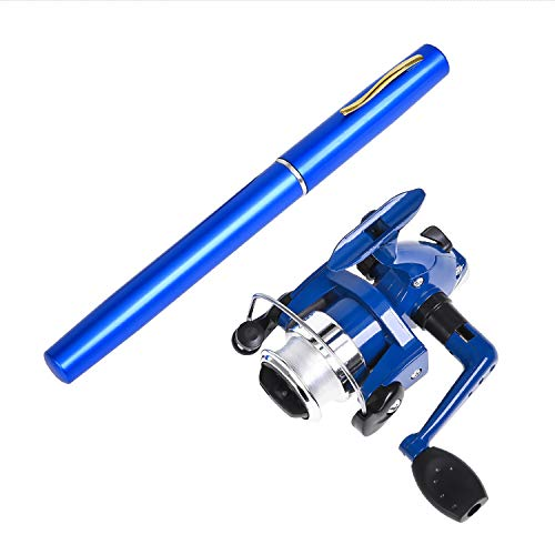Pen Fishing Pole 38 Inch Mini Pocket Fishing Rod and Reel Combos Travel Fishing Rod Set for Ice Fly Fishing Sea Saltwater Freshwater(Blue)