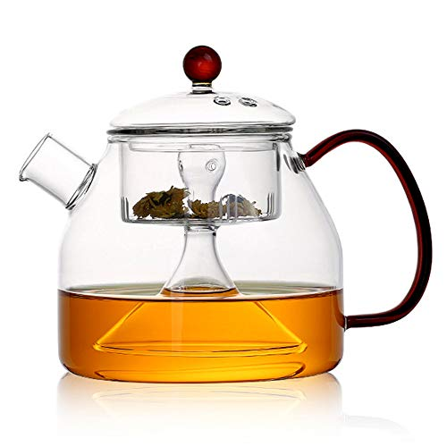 COLORFULTEA - Glass Teapots - 1200 ml (41 oz) - Water Vapor to Brew Tea Glass Teapot/Water Steam to Brew Tea Glass Teapot/Borosilicate Heat-resisting Glass Teapot With Glass Infuser/Large Glass