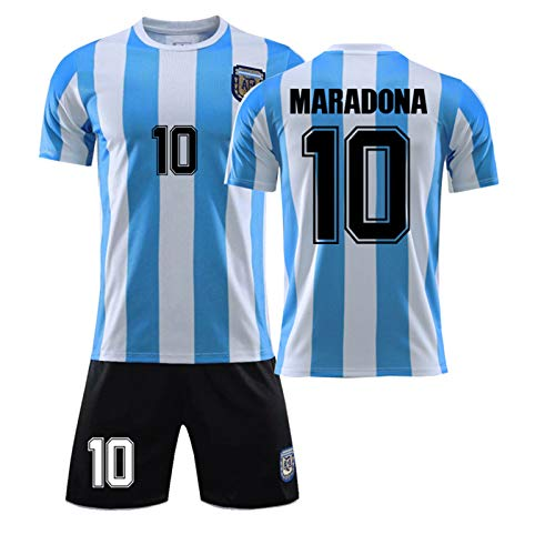 CMYA Diego Maradona Trikot, Retro 1986 Herren Argentinien Trikot Retro Blau Weiß T-Shirt Maradona Nr. 10 Fußballtrikots, Klassische Gedenkfußballuniformen für Kinder,Without Socks,28