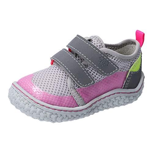 RICOSTA Mädchen Kletthalbschuhe Peppi von Pepino, Weite: Mittel (WMS),waschbar,Barfuß-Schuh, lauflernschuh leicht,grau/neonpink,24 EU / 7 Child UK