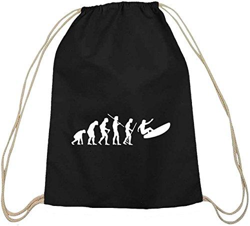Shirtstreet24, EVOLUTION SURFEN, Surfer Baumwoll natur Turnbeutel Rucksack Sport Beutel, Größe: onesize,schwarz natur