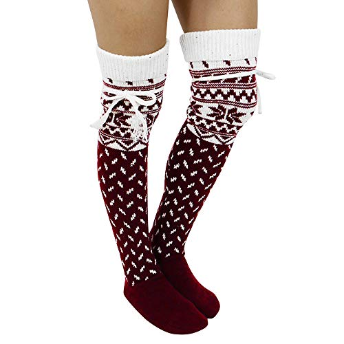Women Christmas Wool Knit Warm Thigh High Long Stockings Knit Over Knee Socks Xmas (Wine Red)