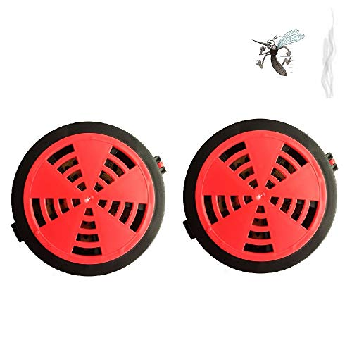 Mosquito Portable Coil Holder - Incense Burner for Outdoor Use, Hiking, Patio, etc. - Set of 2 Holder (Red)