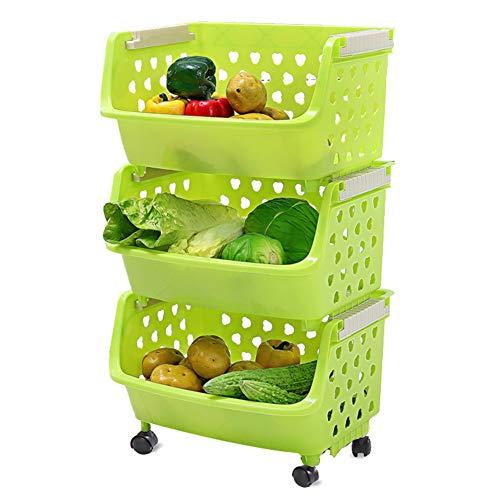 Servierwagen, Kunststoff-Regalwagen mit Rollen, geeignet für Küche/Bad/Schlafzimmer/Wohnzimmer (Farbe : Green, größe : 3-Tier)