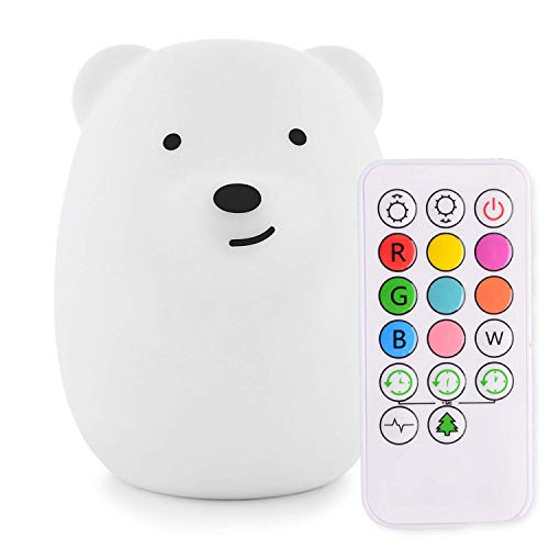 Yuede Kids Night Light (Silicone Light) USB Rechargeable Bear Night Light, 9 Color Change Sensitive Tap Control for Baby/Kids/Adult Bedroom, Remote Control