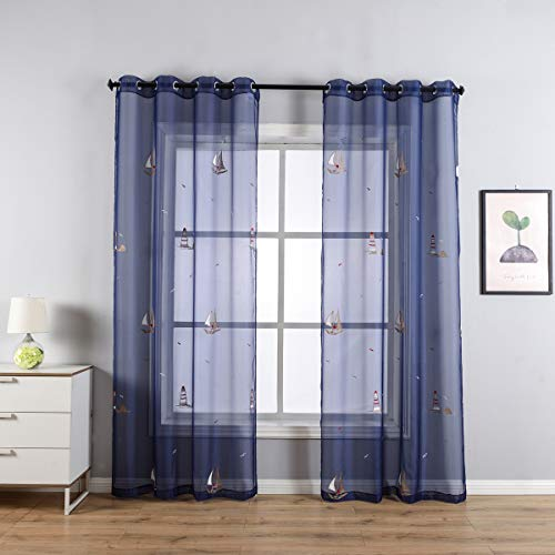 Taisier Home Navy Blue Sheer Voile Window Treatment Embroidered Grommet Top Curtain Panels for Bedroom,Nautical Style Ocean Decorative Sailboat Curtain 84 Inches for Boys Room/Nursery,Set of 2 Panels