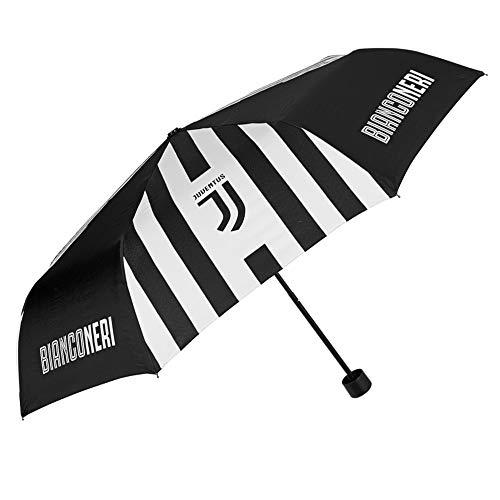 Paraplu zakparaplu Juventus FC - Juve paraplu met officieel logo - windbestendig en stormbestendig - zwart en wit - PFC gratis - handmatige opening - diameter 98 cm - Perletti