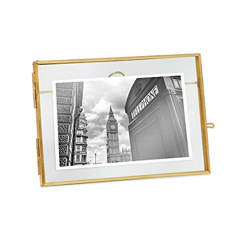 Isaac Jacobs Vintage Style Brass and Glass, Metal Floating Desk Photo Frame, with Locket Closure for Pictures, Art, More (4x6 (Horizontal), Antique Gold)