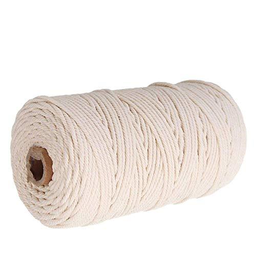 CHARS Makramee Garn 3mm x 200m, Natürliche Baumwollkordel GarnKordel DIY Handwerk für Makramee Wandbehang, Weben Dekoration, Hängepflanze Pflanze Aufhänger (weiß)