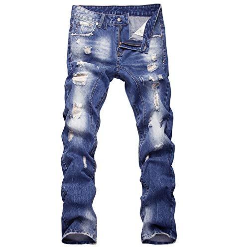 Beastle Pantalones Vaqueros para Hombre Lavados Casuales Pantalones Vaqueros Rectos Delgados Tendencia Europea y Americana Pantalones Rasgados con Personalidad 34
