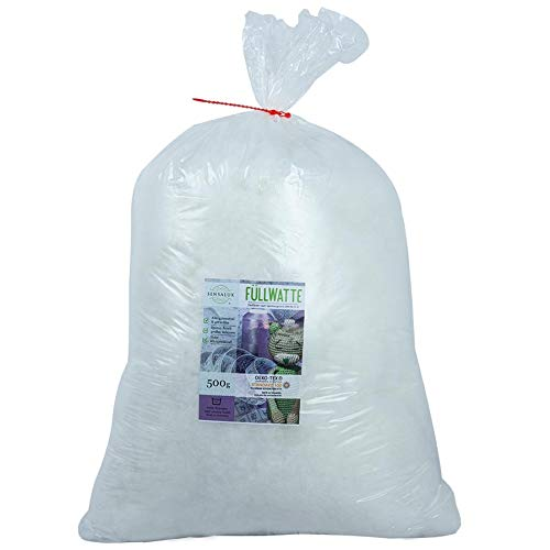 Sensalux Füllwatte, Oeko-Tex Standard 100, Stopfwatte für Kuscheltiere und Amigurumis, rückstellkräftig, 500g, weiß