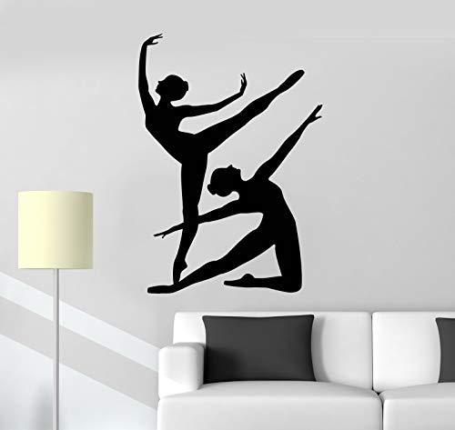 Tianpengyuanshuai Ballerino di Danza Classica Ragazza Silhouette Adesivo da Parete in Vinile Adesivo da Ballo Sport Adesivo da Parete Ragazza Stanza Decorazione della casa 56x80 cm