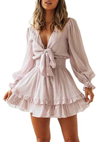 Vestido Casual de Color sólido con Cuello en V para Mujer Vestido Corto con Lazo y Manga de Linterna a la Moda Vestido Corto con Lazo