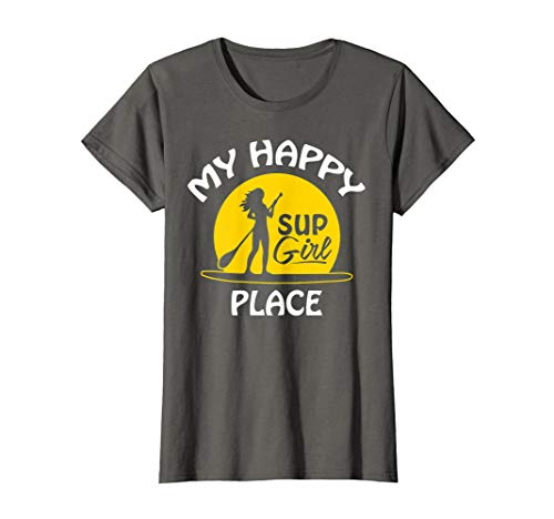 Womens Sup Girl Paddleboard T-Shirt My happy Place Tee